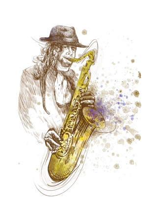 masters of rock: Saxophonist  Full-sized  original  hand drawing  Stock Photo