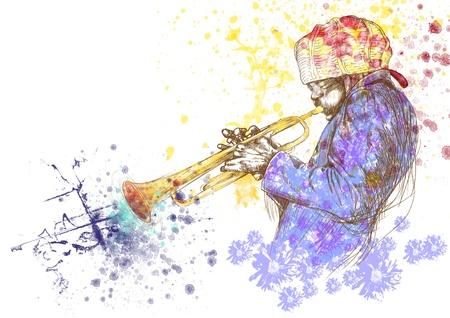 Trumpeter full-sized disegno a mano originale Archivio Fotografico - 15738569