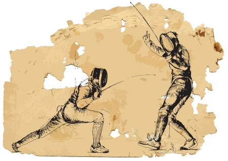 Fencing  Vintage processing  Vector