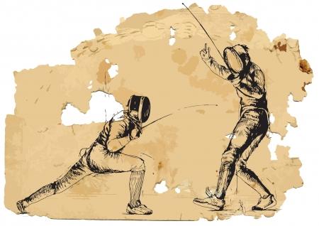 fencing: Fencing  Vintage processing  Illustration