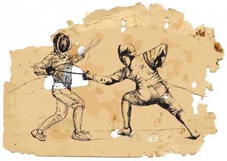 duel: Fencing  Vintage processing  Illustration
