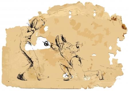 Fencing  Vintage processing  Illustration