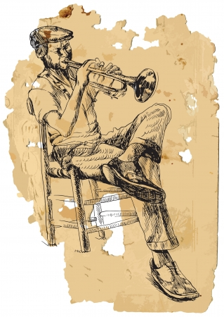 jazz club: Trumpeter Vintage traitement Illustration