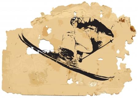 ropa deportiva: Esquiador procesamiento Vintage