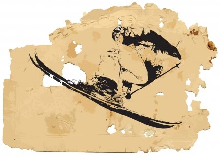 girl in sportswear: Skier  Vintage processing  Illustration