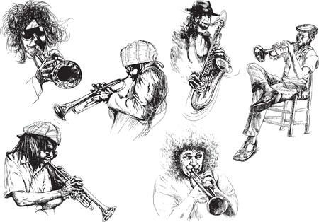 jazz club: collection de dessins - musiciens, jazzmen Illustration
