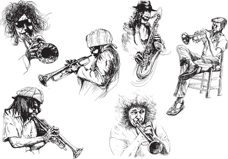 new orleans: musicians, jazzmen - drawings collection