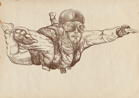 free fall: Skydiving, parachutist  Full-sized  original  hand drawing  Stock Photo