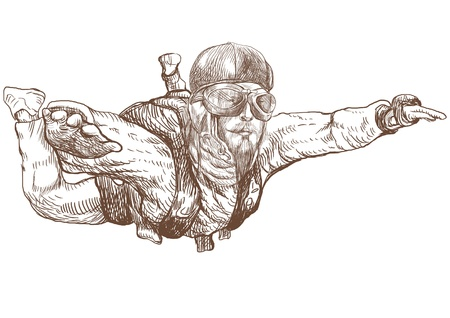 heroism: Skydiving, parachutist  Full-sized  original  hand drawing  Stock Photo