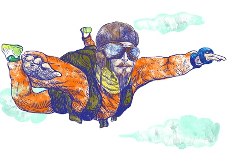 parachute jump: Skydiving, parachutist  Full-sized  original  hand drawing  Stock Photo