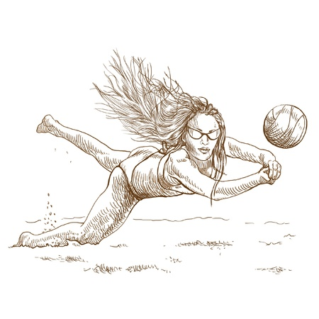 sized: Volleyball player  Beach volleyball   Full-sized  original  hand drawing