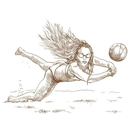 beach ball girl: Volleyball player  Beach volleyball   Full-sized  original  hand drawing