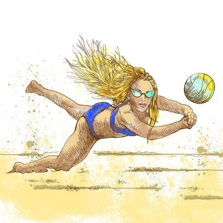 Volleyball player  Beach volleyball   Full-sized  original  hand drawing  photo