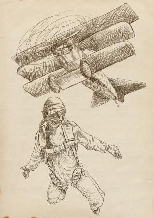 lunatic: Skydiving, parachutist  Full-sized  original  hand drawing  Stock Photo