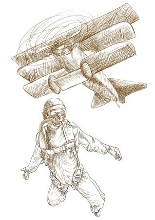 parachutist: Skydiving, parachutist  Full-sized  original  hand drawing  Stock Photo