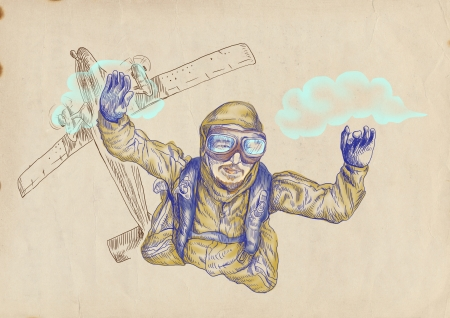 Skydiving, parachutist  Full-sized  original  hand drawing  Stock Photo - 15850312