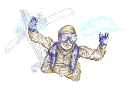 Skydiving, parachutist  Full-sized  original  hand drawing  photo