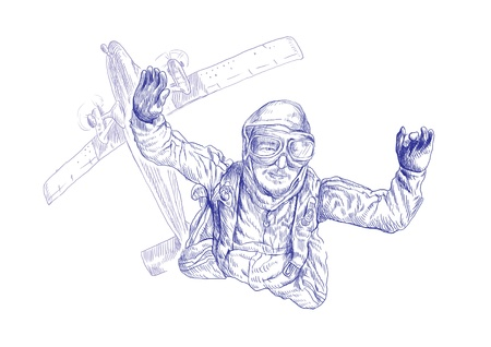 Skydiving, parachutist  Full-sized  original  hand drawing  photo