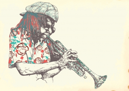 trumpeter, jazzman - vintage processing Stock Vector - 15918564