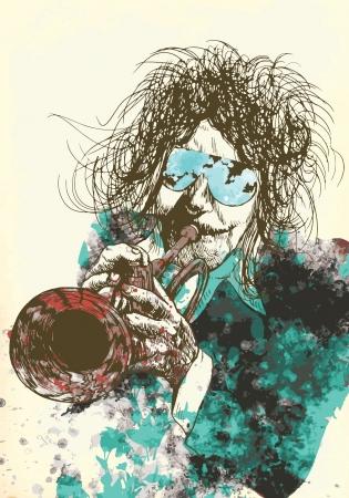 trumpeter, jazzman - vintage processing Stock Vector - 15918563