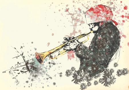 masters of rock: trumpeter, jazzman - vintage processing Illustration