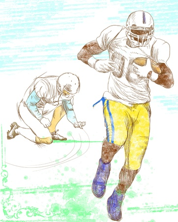teammates: american footbal players, teammates, full sized hand drawing