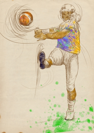 american footbal player, full sized hand drawing photo
