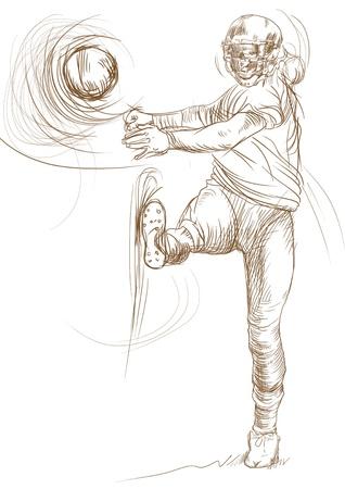 kickoff: american footbal player, full sized hand drawing