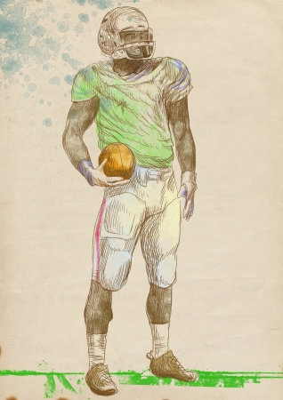 sized: american footbal players, full sized hand drawing Stock Photo