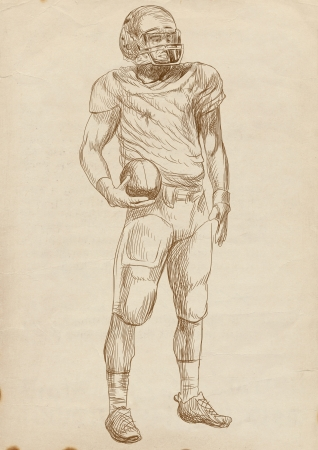 american footbal players, full sized hand drawing photo