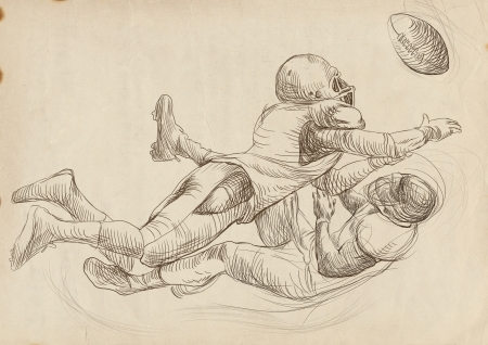 sized: american footbal players, scuffle, full sized hand drawing