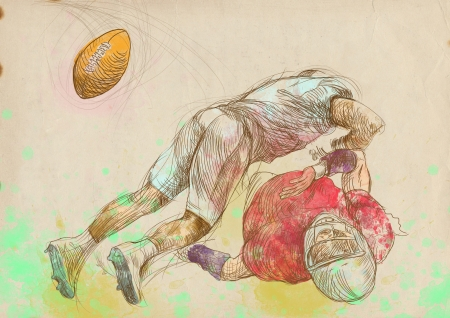 american footbal players, scuffle, full sized hand drawing photo