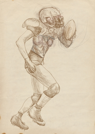 american footbal player, woman, full sized hand drawing photo