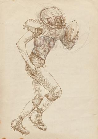 kickoff: american footbal player, woman, full sized hand drawing