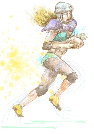 sized: american footbal player, woman, full sized hand drawing