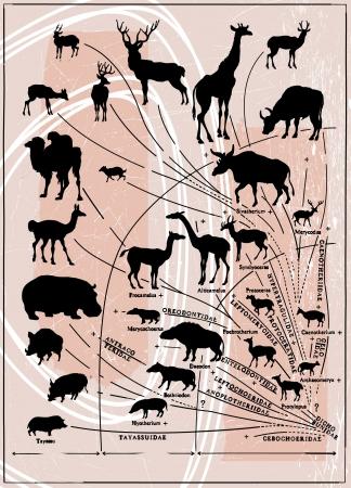prehistoria: historia imagen vectorial - desde la prehistoria hasta ahora, artiod�ctilos Vectores