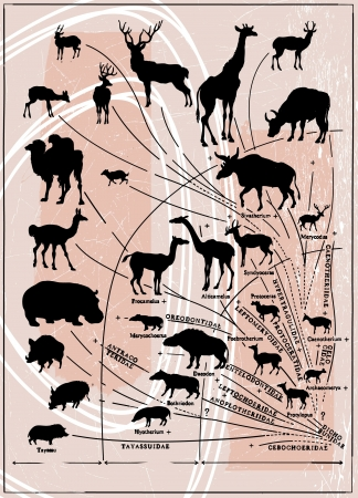 prehistory: history vector picture - from prehistory till now, artiodactyls