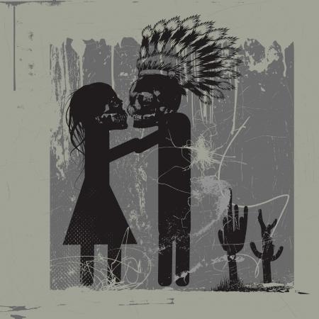 kiss me - kiss me - kiss me, love between monsters Vector