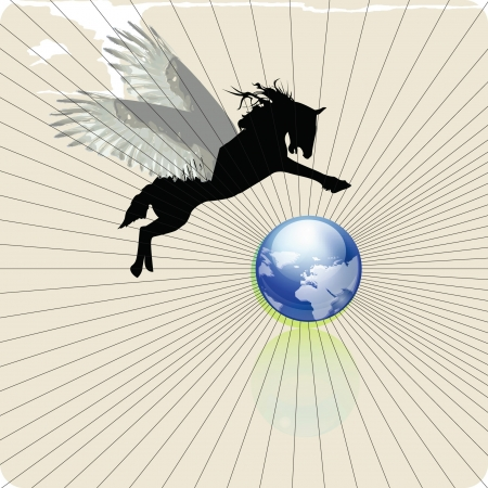 pegasus horse flying upon the planet earth, vector illustration Vector