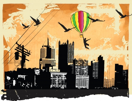flying old baloon upon the city panorama, aviator Vector