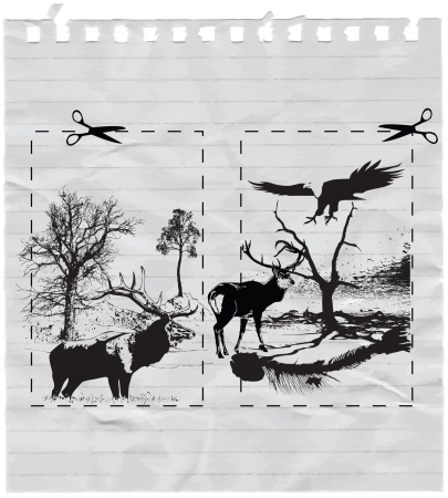 nature picture: nature picture with the countryside, eagle and deers Illustration