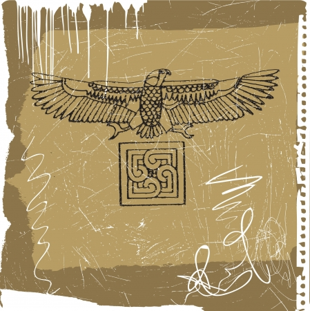 grunge illustration - the falcon  hawk  sign Stock Vector - 15973089