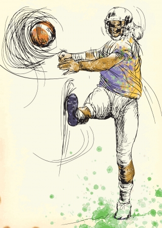 converted: american footbal player, hand drawing converted into vector Illustration