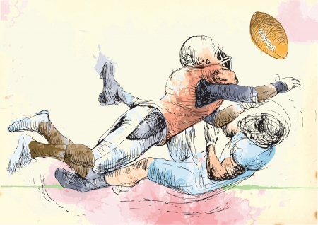 gridiron: American football players, two guys in mutual scuffle  Illustration
