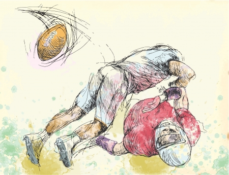 mutual: American football players, two guys in mutual scuffle  Illustration