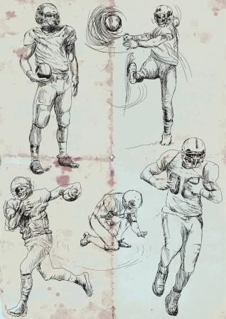 american hero: american footbal players - collection, hand drawing converted into vector Illustration