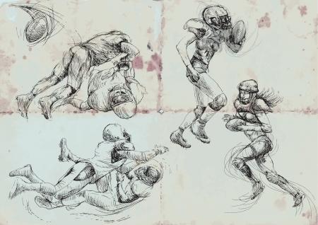 gridiron: footbal americano jugadores - de recolecci�n, dibujo a mano convertida en vector