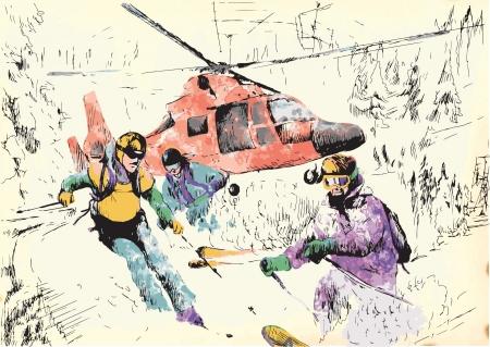skiers: Skiers - Mountain Rescue