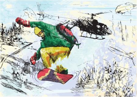racing skates: Winter holiday - snowboarder
