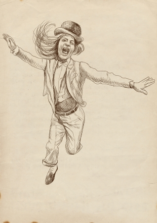jumping and happy people - hand drawing photo